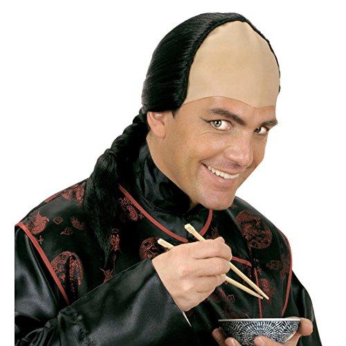 Amakando Perruque avec Tresse Samouraï Cheveux Longs Tressé en Noir Déguisement Guerrier Asiatique Soirée à Thème Costume Accessoire