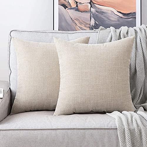 NMG Kissenbezug Werfen,Kissenbezüge Leinen Einfarbig Geometrie Marino,Kissenbezüge Werfen Komfort Komfortabel Luxuriös Vintage Wohnzimmer Zuhause Stuhl.-Beige 40x40cm
