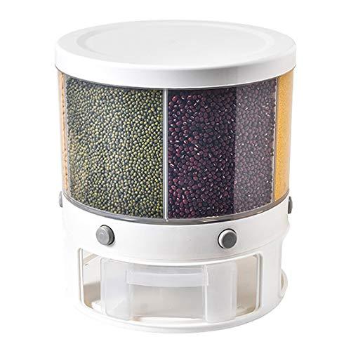 Dispensador de Cereales - Recipiente Grande 10 L, Giratorio, Multifuncional, Divisor Cubo arroz,...