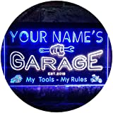 ADVPRO Personalized Your Name Est Year Theme Garage Man Cave Deco Dual Color LED Neon Sign White & Blue 16' x 12' st6s43-pp1-tm-wb