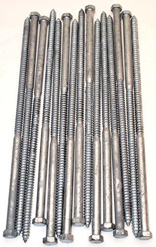 (15) Galvanized Hex Head 1/2 x 16 Lag Bolts Wood Screws