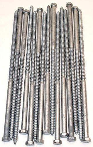 (15) Galvanized Hex Head 1/2 x 16 Lag Bolts Wood Screws