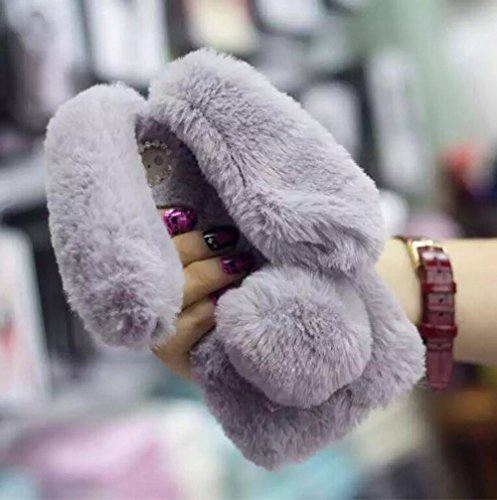 iPhone 5/5s Fur Case for Girls,Jesiya Luxury Cute Toy Warm Handmade Rabbit Bunny Furry Fuzzy Soft Rabbit Fur Hair Plush Case Cover for iPhone 5/5s
