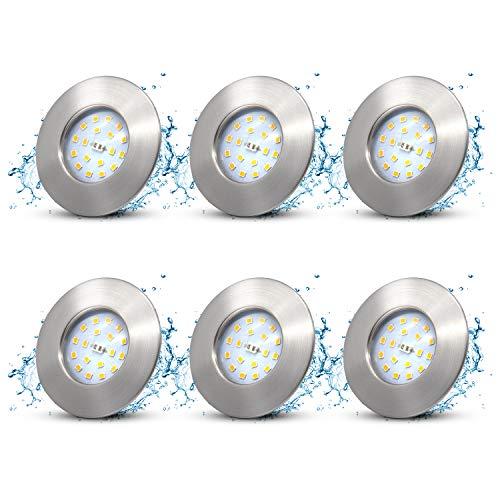6x LED Einbaustrahler ultra Flach IP44 Badeinbaustrahler,5W 230V Warmweiss Spots Bad Deckenspot Einbauspot 500lm led modul LED Einbauleuchte 30mm Rund Matt Nickel Deckenstrahler