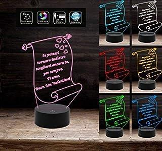Lampada San Valentino 7 colori PERSONALIZZABILE frase Luce da notte multicolore idea Regalo Arredo casa