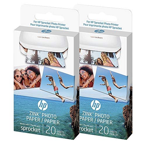 HP - Zink Photo paper - Papel adhesivo original para HP Sprocket, 40 hojas (2 paquetes)