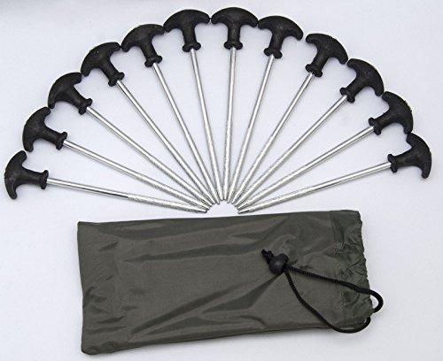 DNA LEISURE Carp-Corner 12 Stück Bivvy T - Bivvy Tent Brolly Pegs inkl. Tasche 21cm Zeltheringe Heringe Zeltnägel Erdnägel Angeln Camping