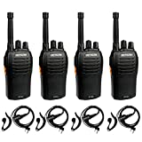 Retevis RT46 Walkie Talkies for Adult,Rechargeable Two Way Radio with Earpiece, Emergency Flashlight Dual Power VOX,2 Way Radio for Outdoor Hiking Mountain Climbing Camping(4 Pack)