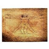DAHALLAR di Medie Dimensioni Puzzle 500 Pezzi,Foto dell'uomo Vitruviano di Leonardo da Vinci del 1492, Divertente Gioco di Famiglia Decor Appeso per la Casa,20.4' x 15'