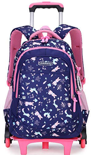 Meetbelify Girls Rolling Backpack with Wheels School Bags For Girls