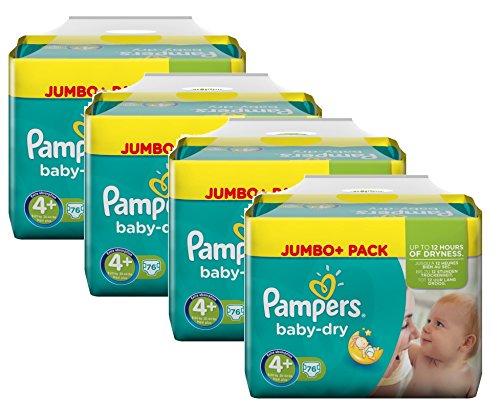 Pampers Baby Dry Größe 4+ Maxi Plus 9-20kg Jumbo Plus Pack, 4er Pack (4 x 76 Windeln)