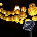 NEXVIN Guirnaldas Luces Farolillos Solares Exterior, 8M 30 LED Cadena de Luces Impermeable para Decoración Jardines Terraza Patio (Blanco Cálido)
