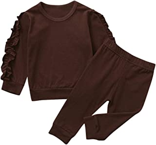 0-3 Años,SO-buts Niños Pequeños Bebés Niñas Otoño Invierno Chándal Manga Larga Casual Volantes Tops Pantalones Sólidos Pij...