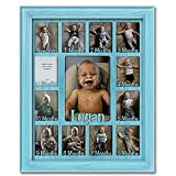 """Northland Baby First Year Personalized Frame - Holds Twelve 2.5"""" x 3.5"""" Newborn Nursery Decor Photos and 5"""" x 7"""" One Year Picture, Aqua Frame, Aqua Mat, Customizable with Any Name"""