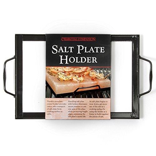 "Charcoal Companion CC3526 Salt Plate Holder,Black,12"" x 8"" Salt Plate Holder"