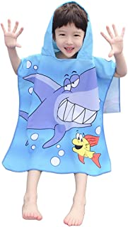 Dreamlizer Toddler Hooded Beach Bath Towel - Soft Swim Pool Coverup Poncho Pirate Cape for Kids Boys Children W-Sharks