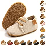 BENHERO Baby Boys Girls Oxford Shoes Soft Sole PU Leather Moccasins Rubber Sole Sneakers Anti-Slip Infant Toddler First Walkers Crib Dress Shoes Sneaker(12-18 Months Toddler, A-Beige)