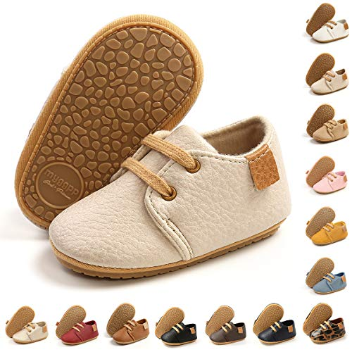 BENHERO Baby Boys Girls Oxford Shoes Soft Sole PU Leather Moccasins Rubber Sole Sneakers Anti-Slip Infant Toddler First Walkers Crib Dress Shoes Sneaker(6-12 Months Infant, A-Beige)