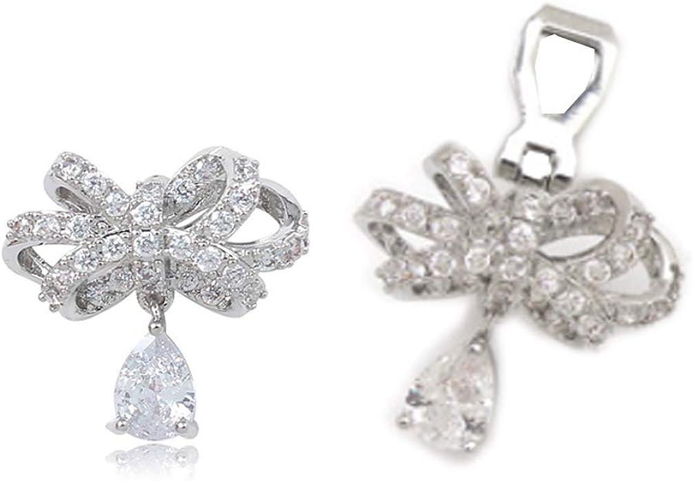 Full Cubic Zirconia Clip on Dangle Knot Earrings non Pierced Soft Pads CZ Teardrop Drop for Women Girls