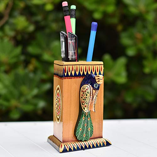 Handmade and handpainted wooden peacock shape pen holder, Triangle Solid Wood Pen Holder, Peacock Figurine Pencil Holder Comes With Handmade Paper Gift Box: (5' x 4'), Best Gift on Valentine Day