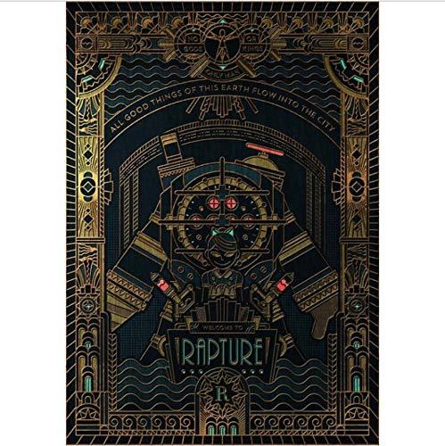 yhnjikl Videojuego Bioshock Rapture Tourism Infinite Custom Picture Poster Art Seda Lienzo Home Room Wall Print Decor 40X60Cm Sin Marco