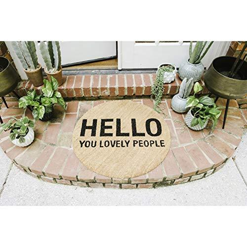 Bloomingville Fußmatte, rund, Kokosfaser, Motiv: Hello You Lovely People, Natur