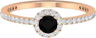 Anello solitario in onice nero, 4 mm, D-VSSI Moissanite Halo anello, anello di fidanzamento con pietra laterale (qualità A...