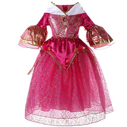 O.AMBW niña Princesa Vestido Bella Durmiente Princesa Halloween niños Cosplay Disfraz, Vestido Rosa Fiesta de Carnaval Disfraz y Accesorios Guantes Corona Varita mágica Collar Anillo