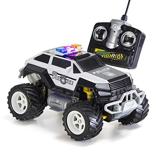 Prextex Camion de la Police Télécommandé Voiture de Police pour Les garçons Télécommandée Vehicule avec Feux Clignotants Magnifique Cadeau de Noël pour Les garçons de 8-12 Ans
