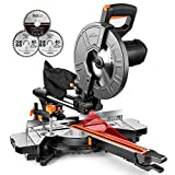 TACKLIFE 15Amp Motor, Bevel Cuttiing (0-45°) Sliding Compound Miter Saw with Laser Guide, Iron Blade Guard, Extension Table, 3 Blades Included