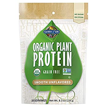 Garden of Life Organic Plant Protein Smooth Unflavored Powder 10 Servings - Vegan Grain Free & Gluten Free Plant Based Protein Shake 1B CFU Probiotics & Enzymes No Sugar or Stevia 15g Protein