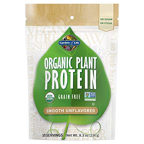 Garden of Life Organic Plant Protein Smooth Unflavored Powder, 10 Servings - Vegan, Grain Free & Gluten Free Plant Based Protein Shake, 1B CFU Probiotics & Enzymes, No Sugar or Stevia, 15g Protein
