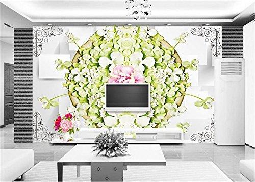 Abihua Wandbilder 3D Custom Fototapete 3D Wallpaper Schöne Grüne Wasser Schwimmende Lotus Dekor Malerei 3D Wandbilder Tapete Für Die Wände 3D 460Cm X 280Cm
