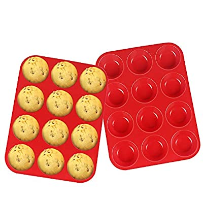 Silicone Muffin Pan, McoMce 100% Food Grade Egg Muffin Tin, Silicone Cupcake Baking Cups BPA Free & FDA Approved, Reusable Silicone Cupcake Pans, 12 Cups Non-stick Silicone Muffin Pancake Set (Red)