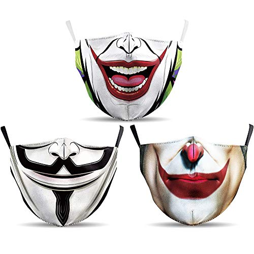 O³ Mundschutz Maske mit Joker Motiv 3er Set // Superhelden, Vendetta // Aus Baumwolle bunt, lustig, komisch für Männer & Frauen // Waschbar & Wiederverwendbar