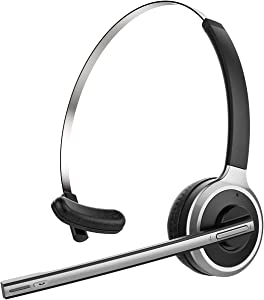 Trucker Wireless Headset with Flip-to-Mute Microphone, Wireless 5.0 Headset Noise Cancelling Mic, 18 Hours, On Ear Wireless Headphones for Home Office, Online Class, Call Center, Driving, PC, Skype