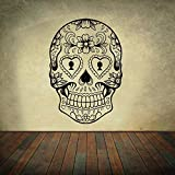 stickers muraux famille stickers muraux jungle b Sugar Skull Mexico Floral Swirl Decoration For Living Room Or Bedroom