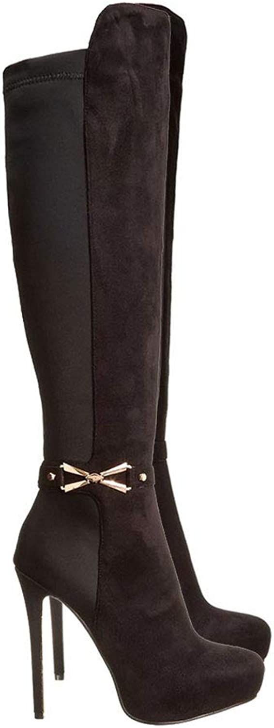 Autumn and Winter Boots and Over The Knee Boots Stiletto Side Zipper Female Round Head High Tube Waterproof Platform Warm shoes