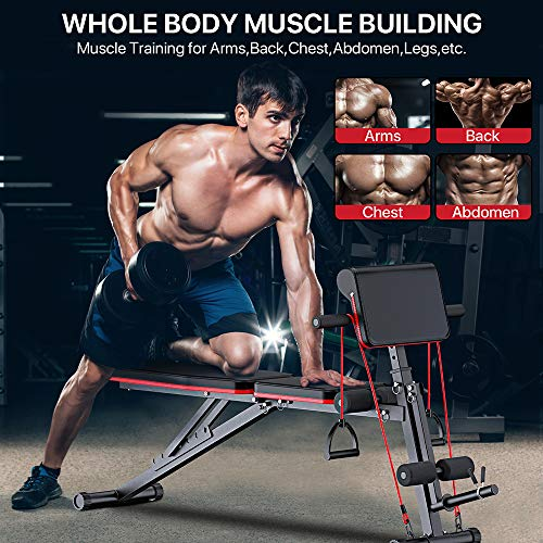 Strength Training Adjustable Benches for Full Body Workout, Weight Bench with Leg Extension and Leg Curl
