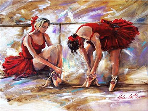 Bailarina de cordones de zapatos (16x20 Pulgadas Sin Marco) Pintar por números para Adultos y niños Lienzos para Pintar por número con Pinceles y Colores Brillantes DIY Pintura al óleo Kit Regalo