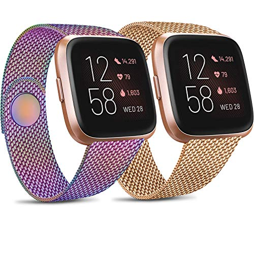 Pack 2 Metal Loop Bands Compatible for Fitbit Versa 2 / Fitbit Versa SE/Fitbit Versa Lite, Stainless Steel Mesh Breathable Wristband with Adjustable Magnet Lock (Rose Gold + Colorful, Large)