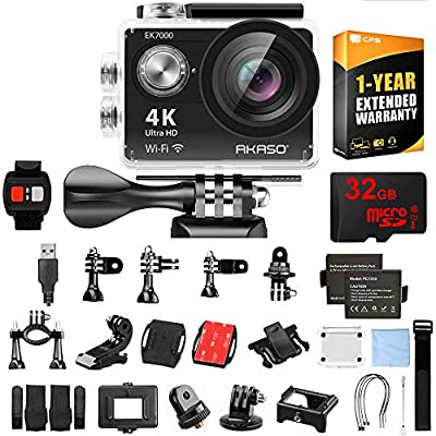 AKASO Ultra HD Waterproof Sports Action Camera (EK7000) with Sports Camera Starter Kit Black Bundle with 32GB MicroSD High-Speed Memory Card and 1 Year Extended Warranty from Akaso