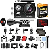 AKASO Ultra HD Waterproof Sports Action Camera (EK7000) with Sports Camera Starter Kit Black Bundle with 32GB MicroSD High-Speed Memory Card and 1 Year Extended Warranty
