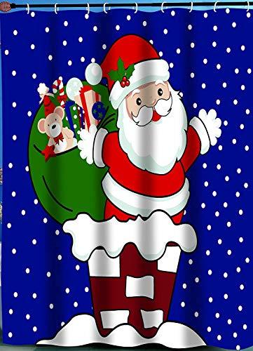 Santa on The Roof Christmas Fabric Shower Curtain, Santa Claus Whimsical Xmas Shower Curtain