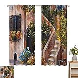 Cortinas para cocina, terraza con flores Grecia para decoración del hogar, juego de 2 paneles de 72 x 84 cm
