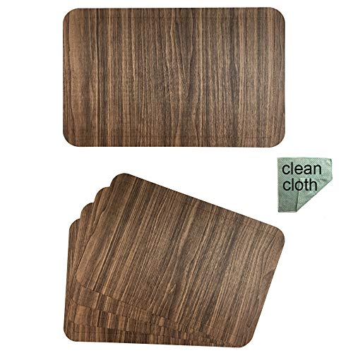 Red-A Dining Table Placemats Set of 4 Heat-Resistant Wipeable Table Mats for Kitchen Table Decoration Waterproof Vinyl Placemats Easy to Clean,Brown