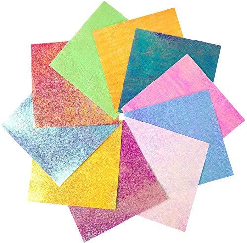 Hileyu Origami Papier, 100 Blätt Glänzend Einseitig Leuchtende Farben DIY Handwerk Origami Papier, 15X15cm Origami-Papier für Sterne, Flugzeuge, Flugzeuge, Tiere