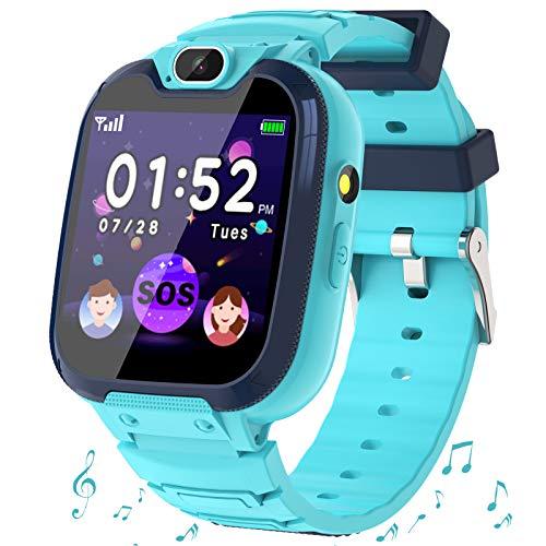 Smartwatch Niños - MP3 Música 14 Juegos Niños Reloj Inteligente llamada Chat de Voz SOS linterna Cámara Vídeo Digital Pantalla Táctil HD Deporte Reloj de Pulsera Digital Para Niños De 4-12 Años (Azul)