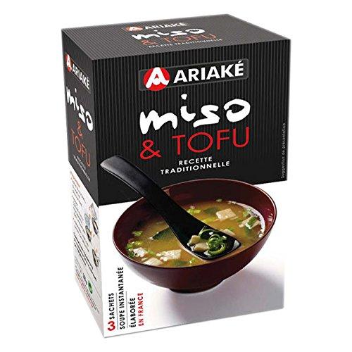 Ariaké Soupe instant miso & tofu, recette traditionnelle - Les 3 sachets, 33g