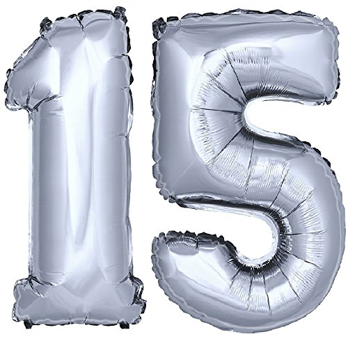 DekoRex® Folienballon Zahlenballon Luftballon Geburtstag Deko 80cm Zahl Silber 15